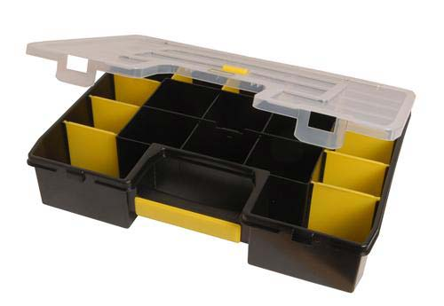 Black Stanley organizer with fixed compartments